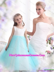 Popular White and Baby Blue Scoop little Girl Pageant Dresses for 2016