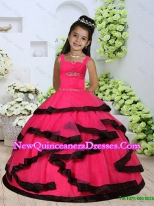 Beautiful Straps Beading Little Girl Dress with Layers and Ruching