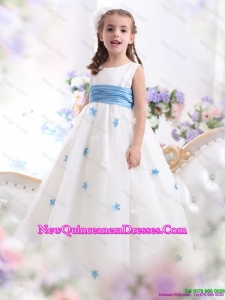 White Scoop little Girl Pageant Dresses with Baby Blue Waistband and Appliques