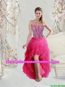 2016 Elegant High Low Sweetheart Beaded and Ruffles Prom Dresses in Hot Pink
