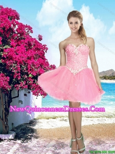 2016 Summer Pretty Pink Sweetheart Dama Dress with Beading for Cocktail