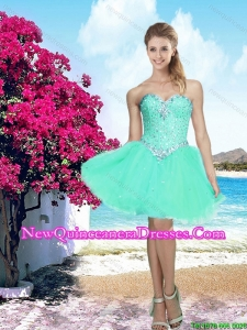 2016 Summer Short Sweetheart Beaded Dama Dresses in Apple Green