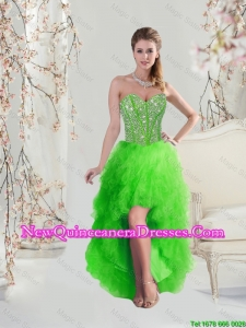 2016 Inexpensive High Low Sweetheart Spring Green Cheap Damas Dresses with Beading