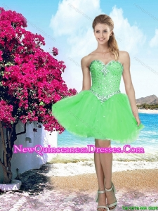 2016 New Arrival Spring Green Sweetheart Cheap Damas Dress with Beading