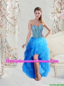 2016 Sophisticated High Low Sweetheart and Beaded Teal Cheap Damas Dresses
