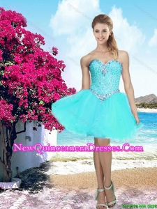 Beautiful 2016 Summer Organza Sweetheart Beaded Cheap Damas Dress in Aqua Blue
