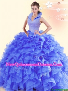 2017 Beautiful High Neck Ruffled and Beaded Sweet 16 Dress in Organza