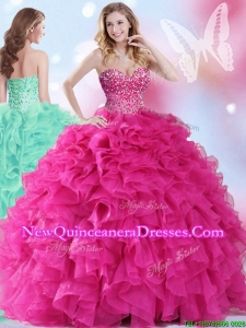 2017 Wonderful Hot Pink Big Puffy Quinceanera Dress with Beading and Ruffles