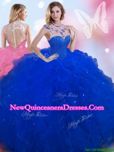 Beautiful High Neck Royal Blue Quinceanera Dress with Beading and Ruffles