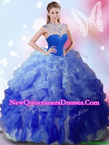 Perfect High Neck Big Puffy Quinceanera Dress with Beading and Ruffles