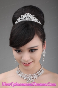Luxurious Rhinestone and Alloy Dignified Ladies Tiara and Necklace