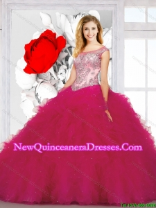 New Arrival Appliques and Ruffles Fuchsia Dresses for Quinceanera