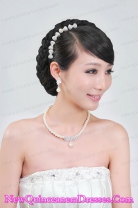 Beautiful Alloy With Pearls Wedding Jewelry Set Including Necklace Earrings And Headpiece