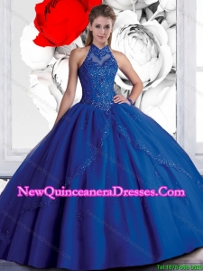 2016 New Style Halter Top Beaded Navy Blue Quinceanera Dresses