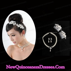 Dignified Necklace and Earings Jewelry Set Including Hairpins