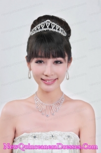 Magnificent Alloy With Rhinestone Ladies Necklace and Tiara