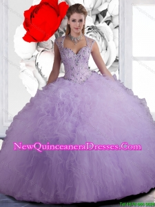 Popular Straps Beaded and Ruffles Quinceanera Dresses in Lavender