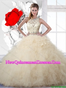 Classical Champagne Quinceanera Dresses with Beading and Ruffles