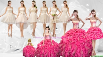 Discount Sequined Quinceanera Dresses and Champagne Dama Dresses and Perfect Straps Little Girl Dresses and Popular Short Prom Dresses