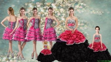 Perfect Zebra and Sash Quinceanera Dresses and Ruffled Layers Dama Dresses and Cute Strapless Little Girl Dresses