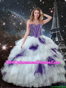 2016 Exquisite Sweetheart Beaded Quinceanera Dresses in White and Purple