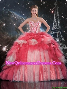 Beautifu Beaded Ball Gown Quinceanera Dresses with Brush Train