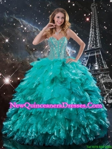 Classical Brush Train Turquoise Quinceanera Dresses with Beading and Ruffles