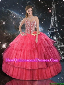 Comfortable Hand Made Flowers Coral Red Quinceanera Dresses with Beading