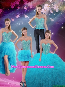 Detachable Sweetheart Beaded and Ruffles Sweet 16 Dresses