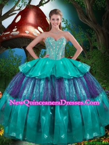 Modest Sweetheart Beaded Quinceanera Dresses with Ruching for 2015 Fall