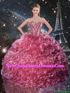 Pretty Ball Gown Coral Red Sweet 16 Dresses with Ruffles and Beading
