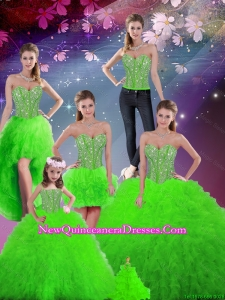 Pretty Beaded Sweetheart Detachable Sweet 16 Dresses with Floor Length