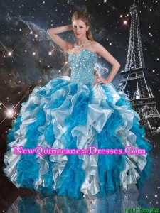 Pretty Beaded White and Blue Sweet 16 Gowns with Ruffles