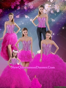 Detachable Sweetheart Fuchsia Beautiful Quinceanera Dresses with Beading and Ruffles