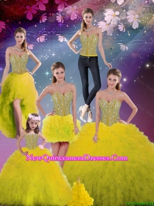 Detachable Sweetheart Yellow Modest Quinceanera Dresses with Beading and Ruffles