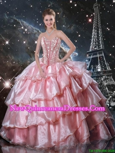 Comfortable Sweetheart Beaded Quinceanera Gowns in Baby Pink