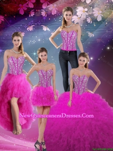Detachable Sweetheart Ball Gown Beaded and Ruffles Quinceanera Dresses in Fuchsia