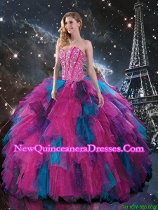 Feminine Multi Color Sweetheart Quinceanera Dresses with Beading