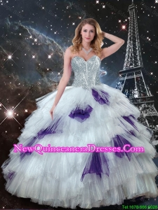 Gorgeous Sweetheart White Quinceanera Dresses with Beading