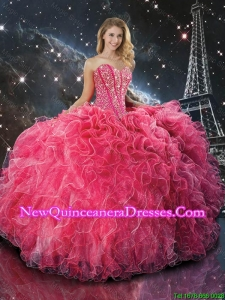 Modest Coral Red Sweetheart Quinceanera Dresses with Beading and Ruffles
