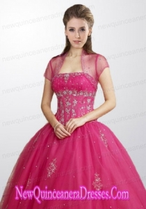Fashionable Tulle Hot Pink Quinceanera Jacket with Beading