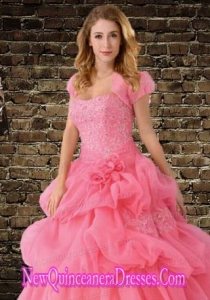 The Super Hot Watermelon Red Organza Special Occasion Quinceanera Jacket