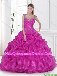 Gorgeous 2016 Fuchsia Quinceanera Dresses Beading and Pick Ups