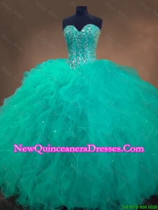 Classical Sweetheart Ball Gown Sweet 16 Dresses in Turquoise