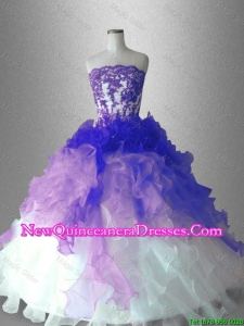 Custom Made Appliques and Ruffles Quinceanera Gowns with Strapless
