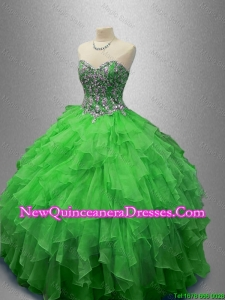 Custom Made Beaded Sweetheart Quinceanera Dresses in Green