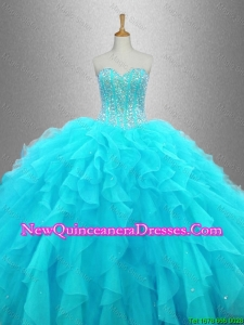 Custom Made Beaded Sweetheart Quinceanera Gowns in Aqua Blue