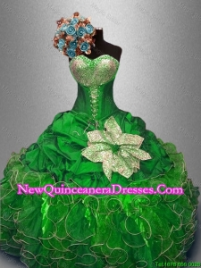 Custom Made Green Quinceanera Dresses with Sequins and Ruffles