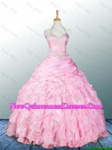 Custom Made Halter Top Pink Quinceanera Dresses with Appliques