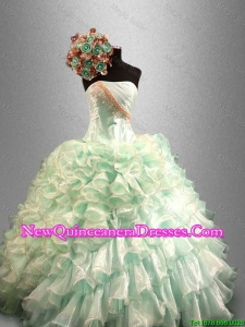 Custom Made Strapless Quinceanera Dresses with Beading and Ruffles